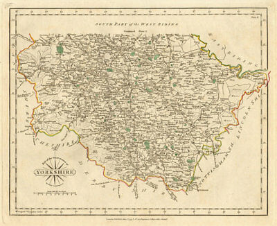 WEST RIDING OF YORKSHIRE-NORTH antique map by JOHN CARY. Original colour 1793