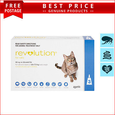 REVOLUTION for Cats 3 Doses 2.6 to 7.5 Kg Blue Pack Heartworm Flea Control