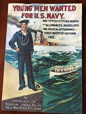 """Vintage US NAVY RECRUITING POSTER 10"""" x 14""""; PRICE REDUCED"""