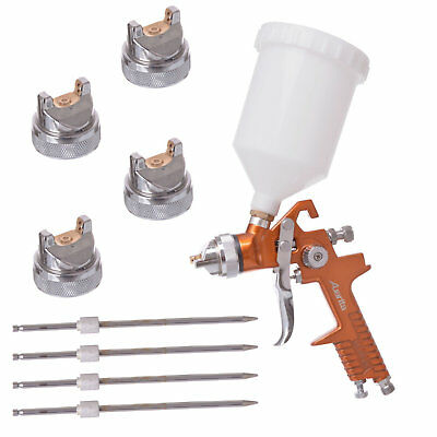 AUARITA HVLP Gold Spray Paint Gun Gravity Feed Nozzle Set 1,3+1,4+1,7+2,0+2,5