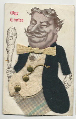 1908 William H. Taft Cartoon Campaign Postcard Clothes Made from Actual Fabric