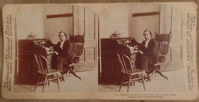 1898 Stereo Card Col. (!) William J Bryan in Office Roll Top Desk Span Am War