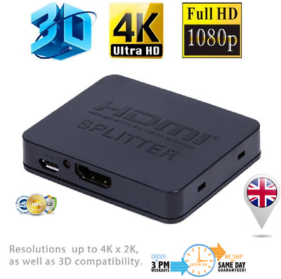 HDMI SPLITTER 2 WAY SWITCH BOX HUB 4K UHD 3D 2160p 1 IN 2 OUT 1 INPUT 2 OUTPUT