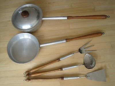 Vintage Mid Century Modern Stede Patio Barbecue Kitchen Cooking Set Aluminum