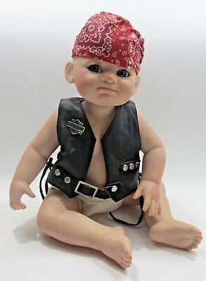 """Franklin Mint Harley Davidson Porcelain Baby Doll """"Bobby"""" Movable Arms Pre-owned"""