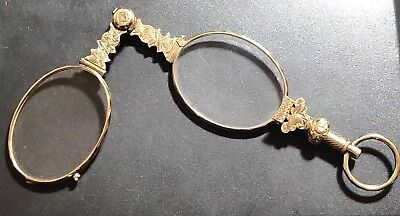Antique Victorian Gold Plated Lorgnettes /magnifying Glasses