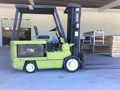 "Clark Electric Forklift 8000lbs 60"" fork lift truck liftruck side shift forks"