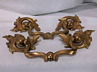 2 Heavy Unique Vintage Antique SOLID Brass Drawer Dresser Pull Victorian Scroll
