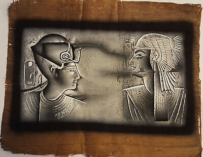 NATURAL PAPYRUS HAND PAINTED EGYPT KING RAMSESSES II AND NEFERTARI 43x35cm