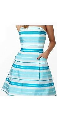 d17ab57f038d Lilly Pulitzer Women's Blossom Dress Turquoise Silk Stripes ( Size 10 ) $288