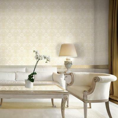 Ivory and Gold Damask Wallpaper Concerto Paste the Wall Heavy Vinyl JC2008-1