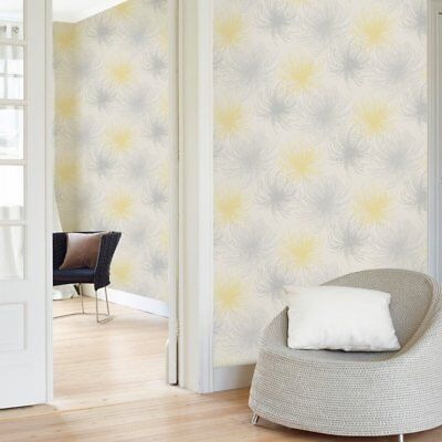 Cosmo Grey and Yellow Floral Wallpaper Glitter Spider Flower A24306