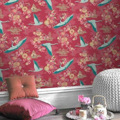 Red Oriental Wallpaper with Teal Japanese Birds - Kyoto by Rasch 219005