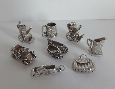 VINTAGE SILVER ASSORTED LARGE HEAVY CHARMS, CAR, SLIPPERS, HANSOM CABS, JUG etc