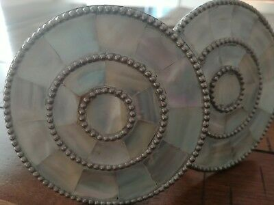 Vtg Pair Curtain Tie Backs Mother of Pearl