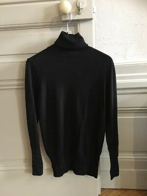 Avec Zara A Noir Petits Roulé M Col Taille Boutons Manches Pull TYfZdqSAY