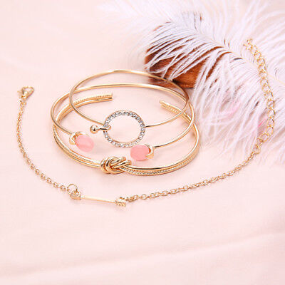 4Pcs Gold Silver Women Arrow Knot Round Open Cuff Bracelets Bangle Chain Jewelry