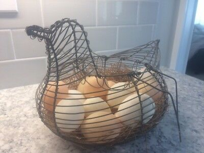 Antique Metal Wire EGG Gathering Basket Chicken HEN Shaped with EGGS!!