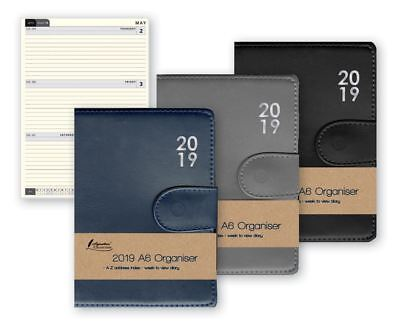 2019 A6 Organiser Premium Padded Week To View Diary With A-Z Address Index & Pen