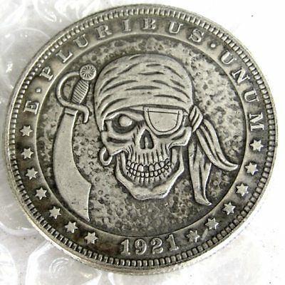 ART-Morgan US Hobo COIN 1921 Morgan Dollar Pirate Skull Zombie Skeleton