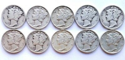 Lot of 10 Mercury 90% Silver Dimes Various Dates 1924-1945
