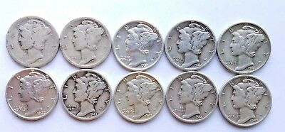 Lot of 10 Mercury 90% Silver Dimes Various Dates 1918-1945