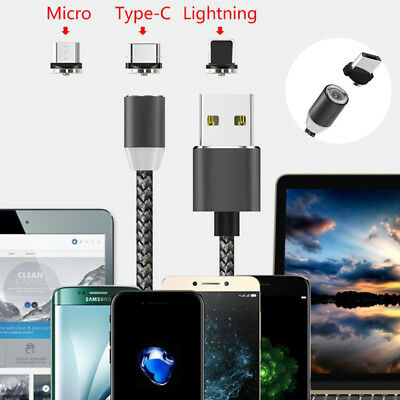 Braided Magnetic Lightning USB Charger Charging Cable For iPhone Samsung Type-C