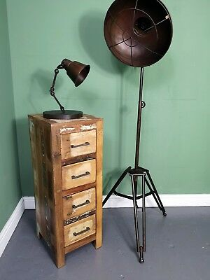 A Reclaimed Recycled Urban Solid Hardwood Bedside Chest of Drawers Console Table