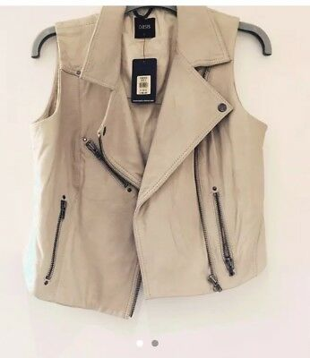 Oasis Biker Leather Bodywarmer Gillet Brand New With Tags Size Medium 10 12