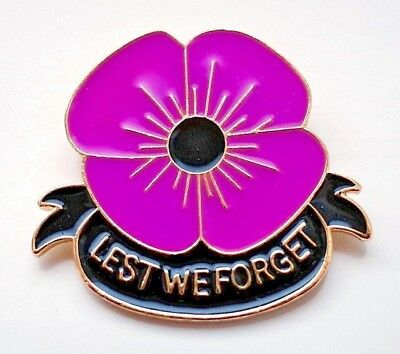 Remembering The Animals Of War New Purple Poppy Glossy Badge Lest We Forget 2019