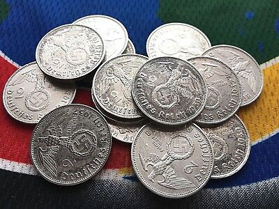 German 2 Mark WWII  Silver Coin 1937 - 1939 (1) 3rd Reich  Coin Circulated