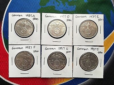 1937 Complete Set 5 Mark WW2 SILVER German Third Reich Swastika Coins