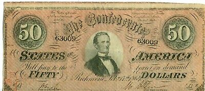 1864 $50 Confederate States Of America T-66