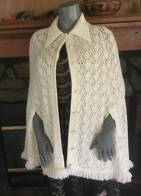 Vintage 70's Women's Winter White Cape Knitted Button Front w/ Fringe