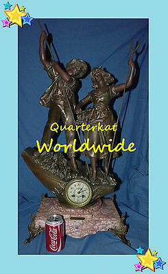 Clocks Victorian Antique Vintage Mantel Mantle Spelter Marble Large Clock Clocks