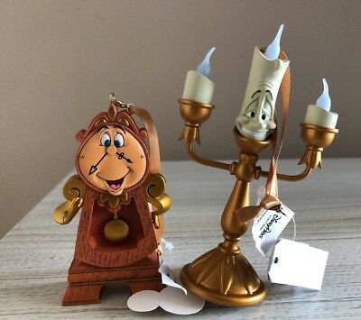 Disney Parks Beauty and The Beast Lumiere Light Up Ornament & Cogsworth Clock