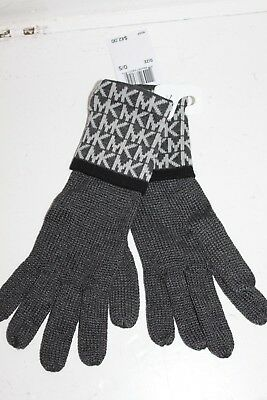 Michael Kors MK Logo Monogram Knit Gloves Charcoal Gray Black MSRP $42 NEW