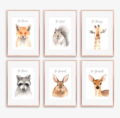 Woodland Forest Animals Baby Nursery Prints Set Boys / Girls Room Wall Art Decor