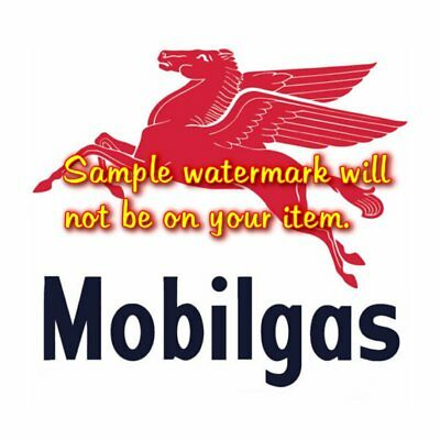 Mobilgas Pegasus Gasoline Text T-shirt Decal Signs Motor Oil Gas Globes