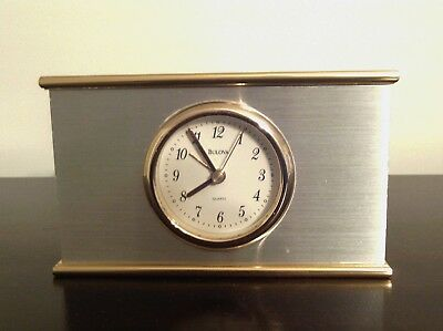 Bulova B1424 Heavy Table Alarm Clock With Brass Finishing in Excellent Condition