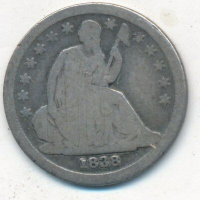 1838 Seated Liberty Silver Dime-Small Stars-Nice Circulated Dime-Ships Free!