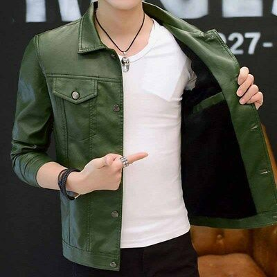 Mens Lapel Motorcycle Leather Jacket Winter Warm Fur Lined Buckle Short Coat Top