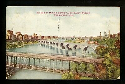 Minnesota MN postcard Minneapolis, Milling District & Bridges Vintage 1920