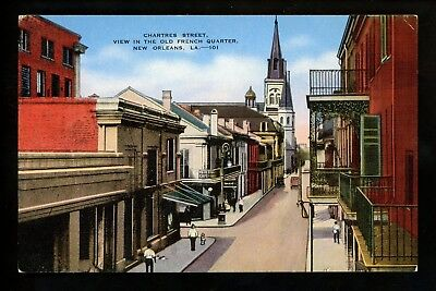 Louisiana LA postcard New Orleans, Chartres Street Old French Quarter linen