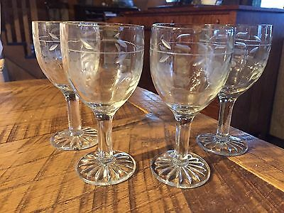 Vintage Pressed Glass Etched Cordial Glasses-4