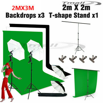 1350W Studio Umbrella Lighting Black White Green Screen Light Backdrop Stand Kit