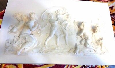 Antique Marble WALL PLAQUE Ivory Color with unusual GRECIAN DANCING SCENE 1883 ?