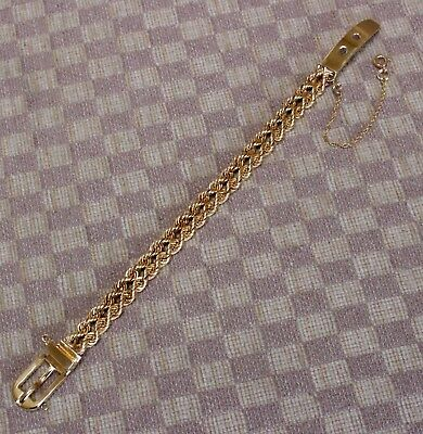 AUTHENTIC VINTAGE HAMMERMAN BROTHERS 14KT YELLOW GOLD BUCKLE BRACELET circa 1972