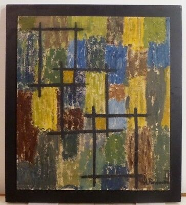 VINTAGE ABSTRACT GEOMETRIC MODERNIST OIL PAINTING Mid Century Modern Signed
