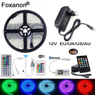 1M 2M 3M 5M 5050 RGB LED Strip Lights Tape+Wifi/ Music Controller IR+12V Power